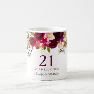 Caneca De Café Presente de aniversário de 21 anos floral vermelho