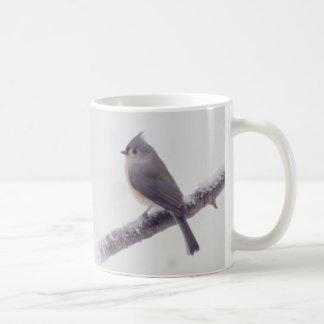Caneca De Café Primeira neve - pássaros adornados do Titmouse