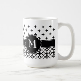 Caneca De Café Quatrefoil branco preto Monogrammed