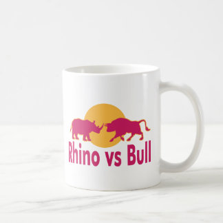 Caneca De Café Rinoceronte contra Bull engraçada