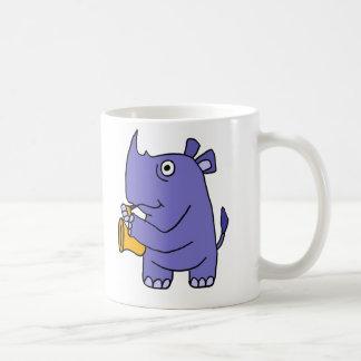 Caneca De Café Rinoceronte dos BN que joga desenhos animados do