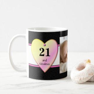 Caneca De Café Rosa personalizado do preto da foto do aniversário