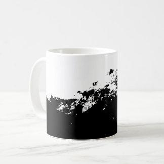 Caneca De Café Scape do lobo em preto e branco