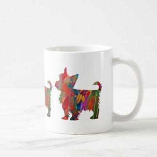 Caneca De Café Silhueta pintada colorida do cão de Yorkie multi