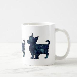Caneca De Café Silhueta preta da aguarela de Yorkie Terrier