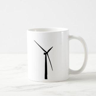 Caneca De Café Silhueta simples da energia do verde da turbina
