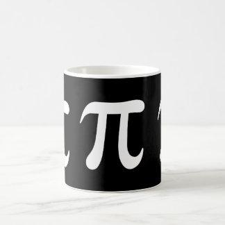 Caneca De Café Símbolo branco do pi no fundo preto
