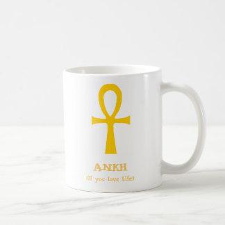 Caneca De Café Símbolo egípcio dourado de Ankh da vida engraçado