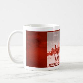 Caneca De Café Skyline de Vancôver com grunge vermelho