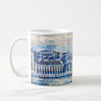 Caneca De Café teste padrão azul da porcelana do azulejo da