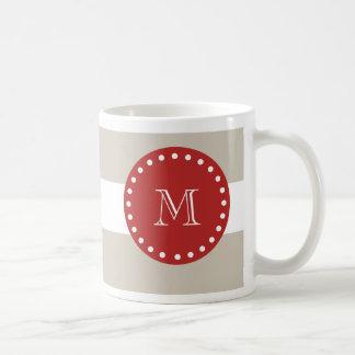 Caneca De Café Teste padrão branco bege das listras, monograma