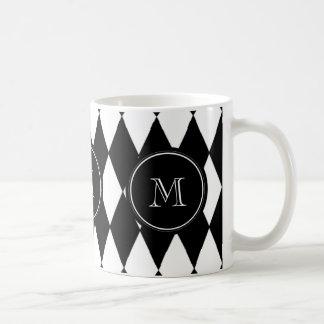Caneca De Café Teste padrão branco preto do Harlequin, sua