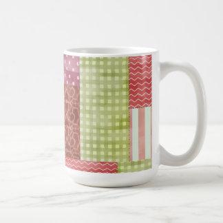 Caneca De Café Teste padrão chique Quiltblocks dos retalhos do