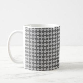 Caneca De Café Teste padrão cinzento do diamante da combinação
