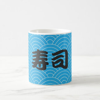 Caneca De Café Teste padrão de onda japonês da cerceta com sushi