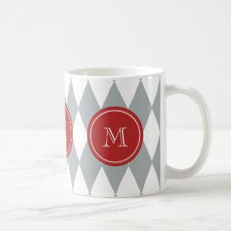 Caneca De Café Teste padrão do Harlequin do branco cinzento,