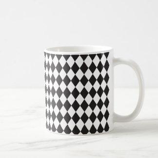 Caneca De Café Teste padrão do Harlequin do diamante em preto e