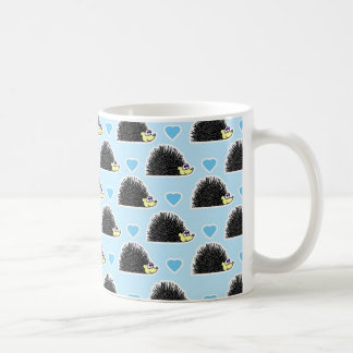 Caneca De Café Teste padrão feliz azul do amor do ouriço