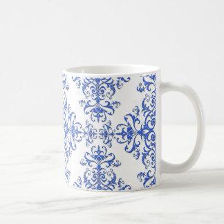 Caneca De Café Teste padrão floral do azul cobalto e o branco do
