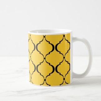 Caneca De Café Teste padrão marroquino amarelo e preto