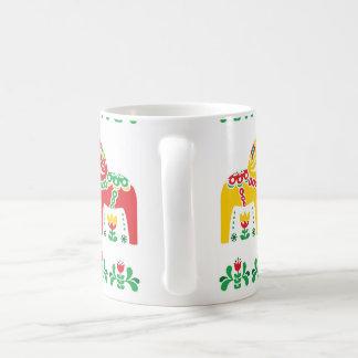 Caneca De Café Teste padrão popular floral do cavalo de Dala do