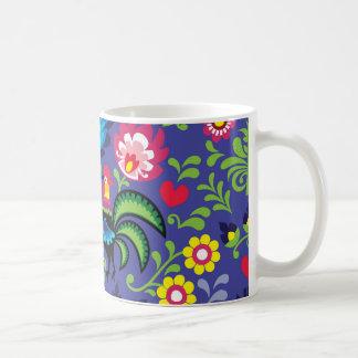 Caneca De Café Teste padrão popular floral polonês tradicional do
