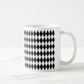 Caneca De Café Teste padrão preto & branco do Harlequin do