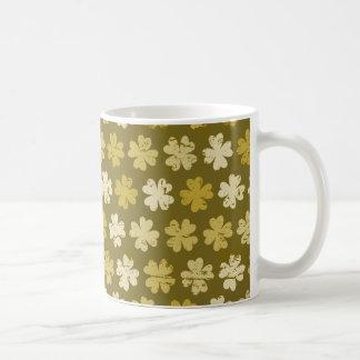 Caneca De Café Teste padrão verde do trevo da Quatro-folha