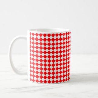 Caneca De Café Teste padrão vermelho e branco do diamante por