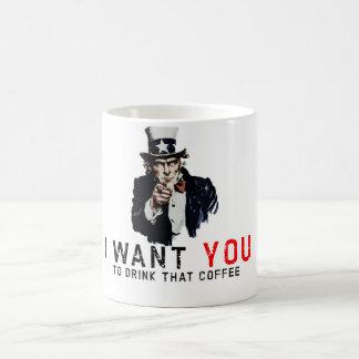 """Caneca De Café Tio Sam """"eu quero-o"""" agredir"""