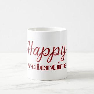 Caneca De Café Tipografia preta vermelha do Cupido dos namorados