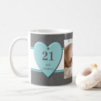Caneca De Café Turquesa personalizada da foto do aniversário de