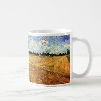 Caneca De Café Van Gogh Ploughed o campo, belas artes do vintage