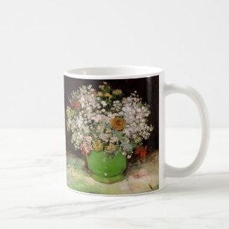 Caneca De Café Vaso de Van Gogh com Zinnias e flores, belas artes
