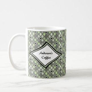Caneca De Café Verde curvado teste padrão do Harlequin