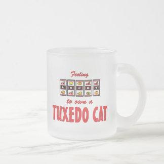 Caneca De Café Vidro Jateado Afortunado ao próprio um design do gato do