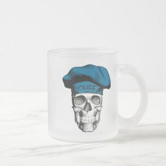 Caneca De Café Vidro Jateado Crânio azul do cozinheiro chefe do chapéu