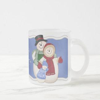 Caneca De Café Vidro Jateado Família gelado do boneco de neve - azul