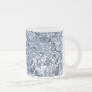 Caneca De Café Vidro Jateado Gelo rachado azul legal