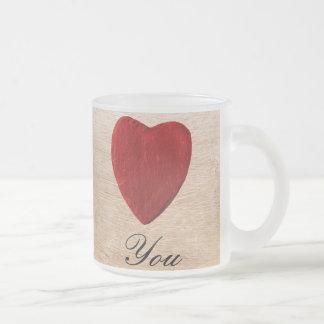Caneca De Café Vidro Jateado Pano de fundo de madeira Love you