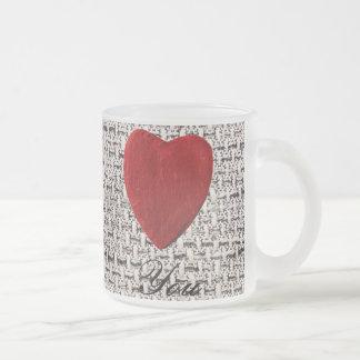 Caneca De Café Vidro Jateado Pano de fundo de substância Love you