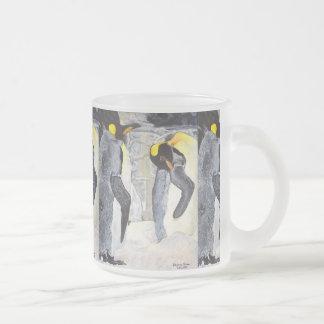 Caneca De Café Vidro Jateado Pinguins de imperador no gelo