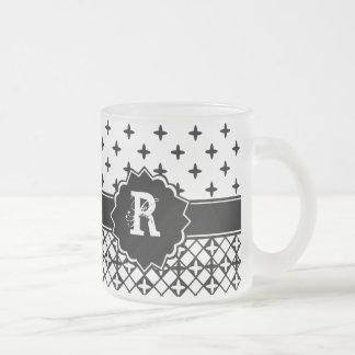 Caneca De Café Vidro Jateado Quatrefoil branco preto Monogrammed
