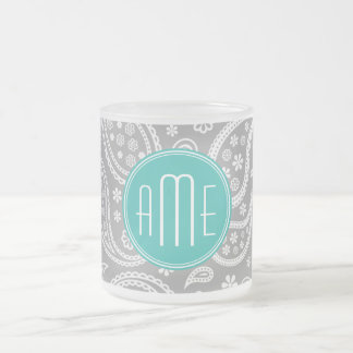 Caneca De Café Vidro Jateado Teste padrão cinzento floral chique de Paisley &