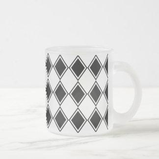 Caneca De Café Vidro Jateado teste padrão preto e branco do diamante do