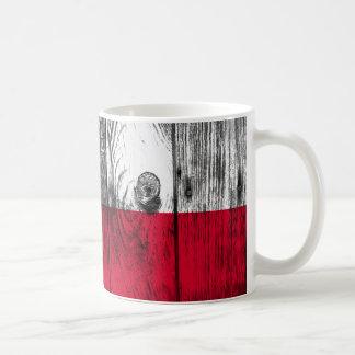 Caneca De Café Vintage Polónia bandeira Nacional madeira taça