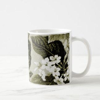 Caneca De Café Vintage Toile floral No.1 da verde azeitona