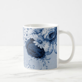 Caneca De Café Vintage Toile floral No.4 do azul de índigo
