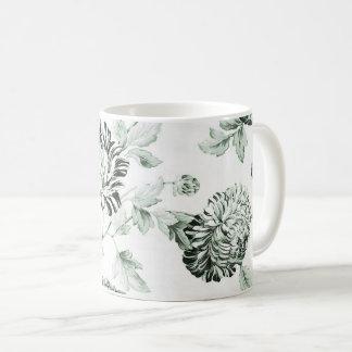Caneca De Café Vintage verde & branco Toile floral No.2 da espuma