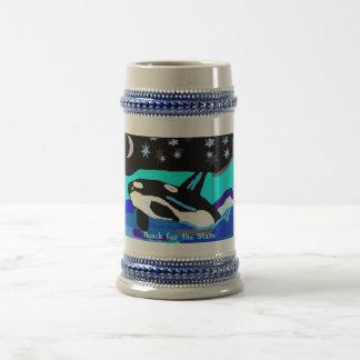 Caneca De Cerveja Baleia da orca da estrela de Nightime, alcance